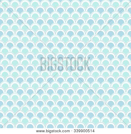 Vector Colored Geometric Seamless Pattern With Sea Waves