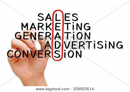 Hand Writing Lead Generation Crossword Concept With Marker On Transparent Wipe Board Isolated On Whi