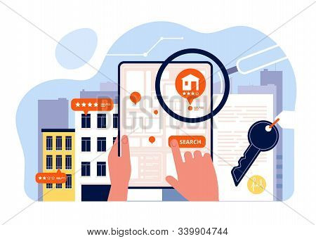 Real Estate Searching. Houses Rent Viewing On Mobile Device Screen App Search House Vector Concept I