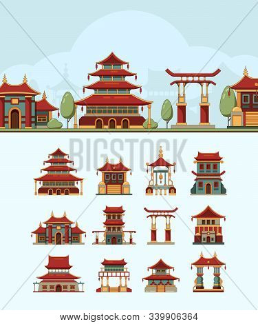 China Houses. Traditional East Buildings Beautiful Roof Japan Architectural Objects Vector Flat Illu