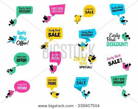 Early Birds Badges. Advertizing Discount Labels Special Business Offers Vector Birds Set. Illustrati