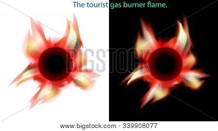 Flame Portable Kerosene Stove Or Primus, Equipment Tourist, Burner. Fire Vector Illustration.
