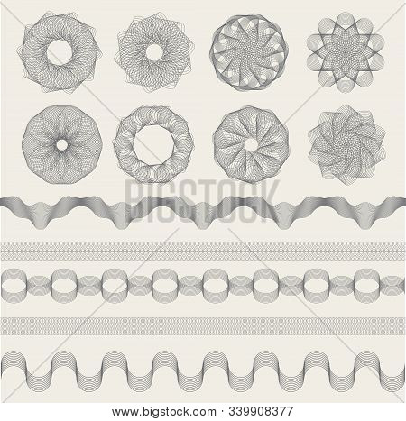 Guilloche Graphics. Vintage Engraving Waves For Coupons Money Banknotes Or Certificate Signs Vector