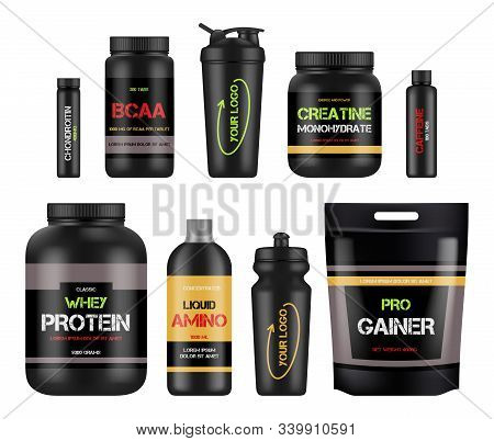 Sport Nutrition Labels. Protein And Amino Bcaa Fitness Vitamin Design Packages For Healthy Powerful