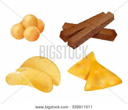 Snacks. Salty Crispy Junk Fast Food Chips Corn Cookies Vector Realistic Collection. Illustration Sna