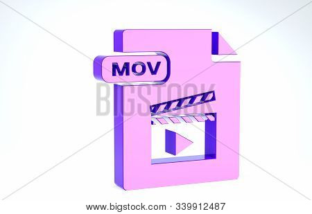Purple Mov File Document. Download Mov Button Icon Isolated On White Background. Mov File Symbol. Au