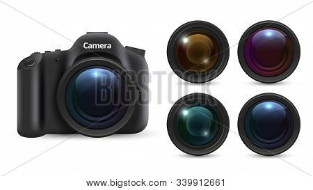 Realistic Photo Camera. 3d Lenses Isolated On White Background. Photographic Equipment Vector Set. R