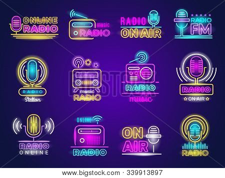 Radio Neon. Broadcasting Glow Effect Colored Logo Music Show Studio Emblem Live Transmission Vector.