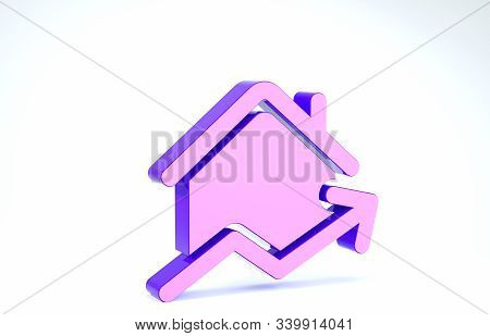 Purple Rising Cost Of Housing Icon Isolated On White Background. Rising Price Of Real Estate. Reside