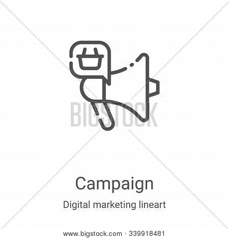 campaign icon isolated on white background from digital marketing lineart collection. campaign icon