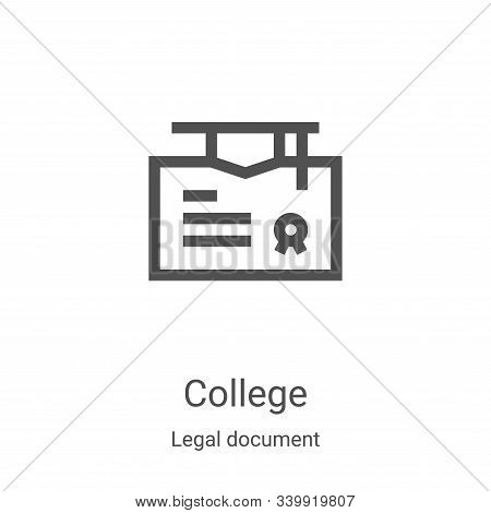 college icon isolated on white background from legal document collection. college icon trendy and mo