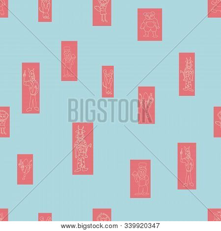 Vector Pastel Blue Anthropomorphic Characters In Fun Rectanglar Shapes Seamless Pattern Background