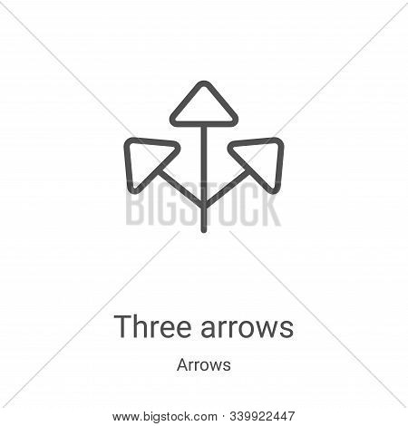 three arrows icon isolated on white background from arrows collection. three arrows icon trendy and