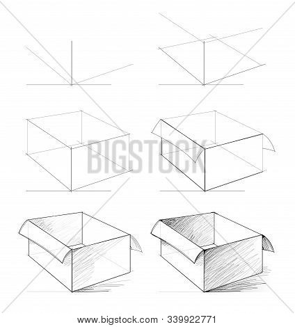 How To Draw From Nature Sketch Of Realistic Open Box. Creation Step By Step Pencil Drawing. Educatio