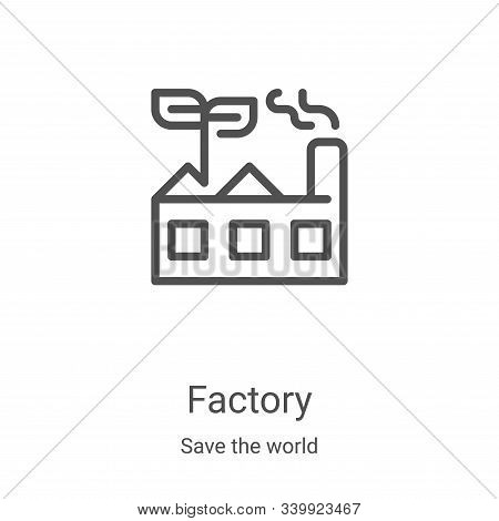 green factory icon isolated on white background from save the world collection. green factory icon t
