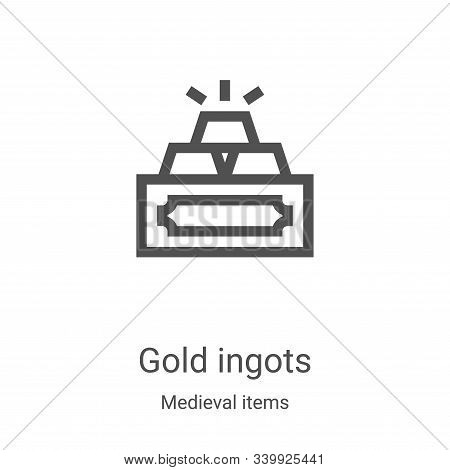 Gold Ingots icon isolated on white background from medieval items collection. Gold Ingots icon trend