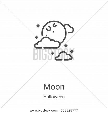 moon icon isolated on white background from halloween collection. moon icon trendy and modern moon s