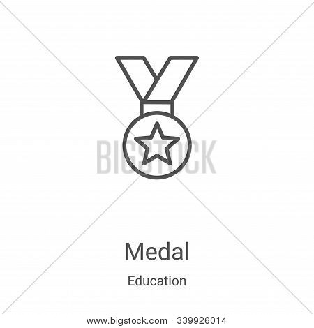 medal icon isolated on white background from education collection. medal icon trendy and modern meda