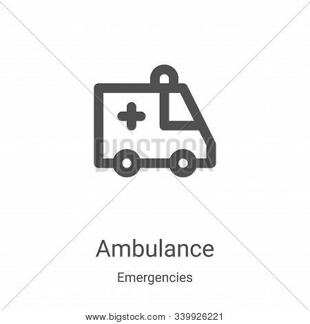 ambulance icon isolated on white background from emergencies collection. ambulance icon trendy and m