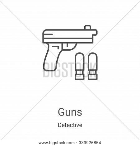 guns icon isolated on white background from detective collection. guns icon trendy and modern guns s