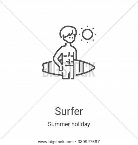 surfer icon isolated on white background from summer holiday collection. surfer icon trendy and mode