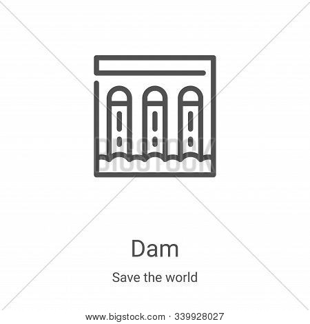 dam icon isolated on white background from save the world collection. dam icon trendy and modern dam