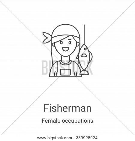 fisherman icon isolated on white background from female occupations collection. fisherman icon trend