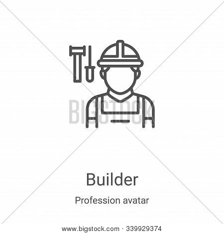 builder icon isolated on white background from profession avatar collection. builder icon trendy and