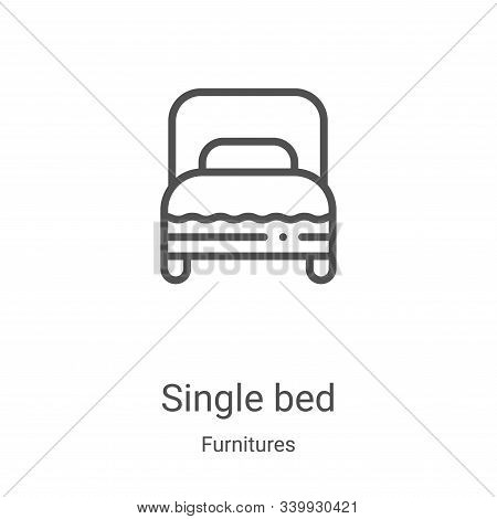 single bed icon isolated on white background from furnitures collection. single bed icon trendy and