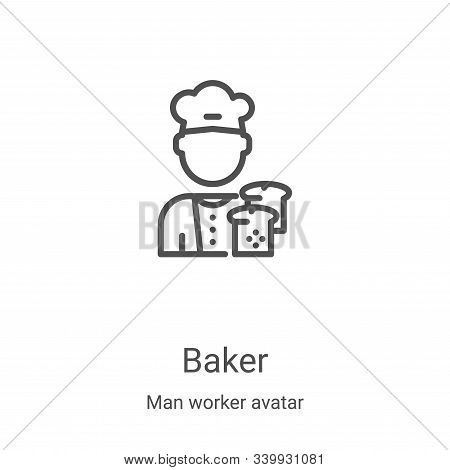 baker icon isolated on white background from man worker avatar collection. baker icon trendy and mod