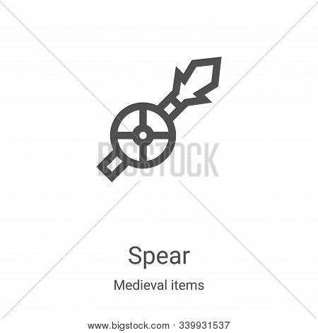 spear icon isolated on white background from medieval items collection. spear icon trendy and modern