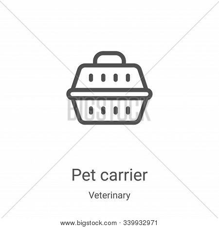 pet carrier icon isolated on white background from veterinary collection. pet carrier icon trendy an
