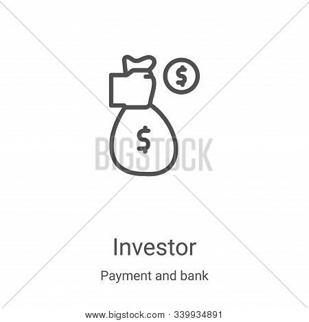 investor icon isolated on white background from payment and bank collection. investor icon trendy an