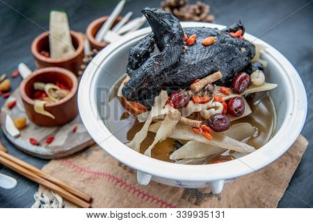Chinese Traditional Nourishing Health Stew, Stewed Black Bone Chicken, Chinese Black Chicken Soup, T