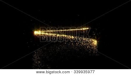 Gold glitter spiral with light sparks, Christmas and New Year holiday magic glow background. Abstract golden star light and glittery confetti spiral with magic glowing sparkle trail