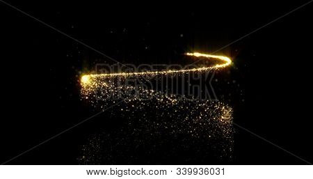 Gold sparkling spiral trail with shimmering glitter particles, Christmas holiday background design. Abstract golden glittery spiral tail, magic glittering and glowing sparkle twirl