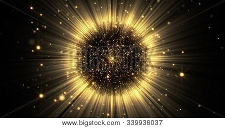 Gold light sphere ball with glitter sparkles burst and glowing shimmer radiance explosion burst. Magic glow sphere emitting golden light rays and sparkling particles explosion with shiny glare flare
