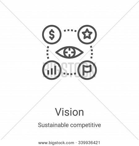 vision icon isolated on white background from sustainable competitive advantage collection. vision i