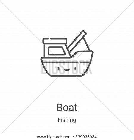 boat icon isolated on white background from fishing collection. boat icon trendy and modern boat sym
