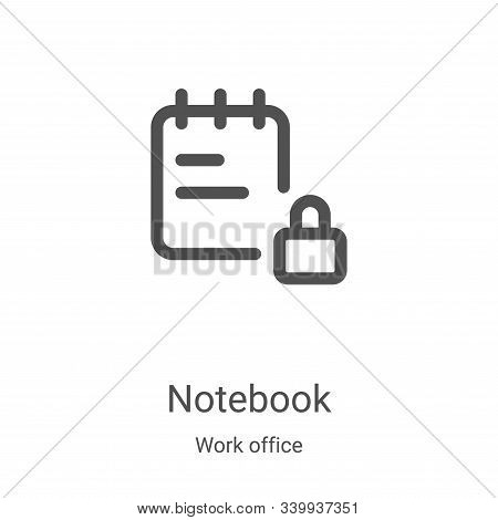 notebook icon isolated on white background from work office collection. notebook icon trendy and mod