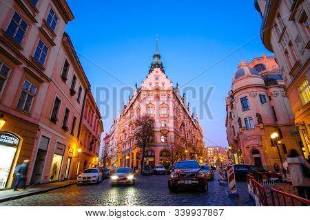 Prague, Czech Republic - November, 19, 2019: image of Prague night traffic