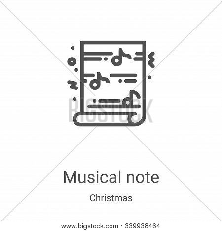 musical note icon isolated on white background from christmas collection. musical note icon trendy a