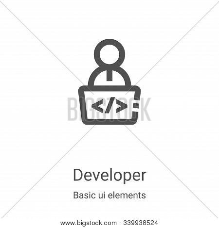 developer icon isolated on white background from basic ui elements collection. developer icon trendy