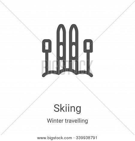 skiing icon isolated on white background from winter travelling collection. skiing icon trendy and m
