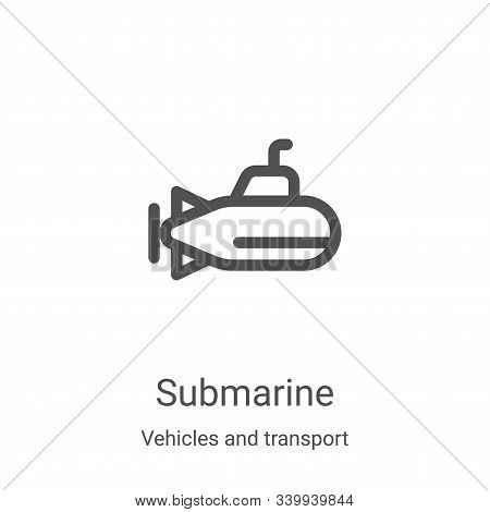 submarine icon isolated on white background from vehicles and transport collection. submarine icon t