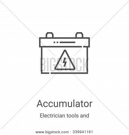 accumulator icon isolated on white background from electrician tools and elements collection. accumu