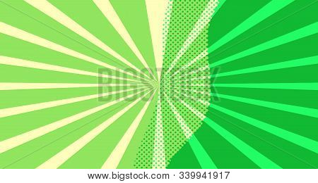 Vintage Colorful Comic Book Background. Green Blank Bubbles Of Different Shapes. Rays, Radial, Halft