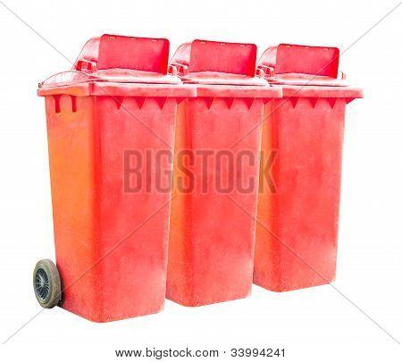 Triple Red Recycle Bins