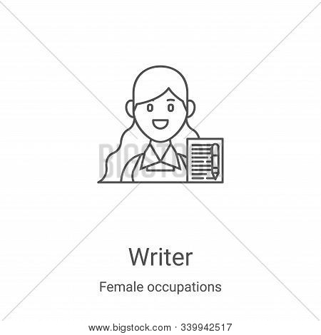 writer icon isolated on white background from female occupations collection. writer icon trendy and