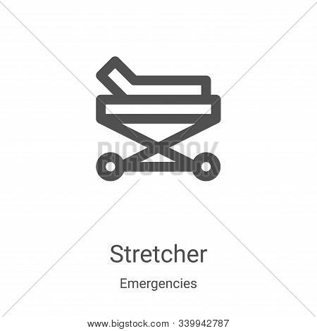 stretcher icon isolated on white background from emergencies collection. stretcher icon trendy and m